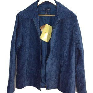 NEW Susan Graver Womens Blue Woven Full Zip jacket